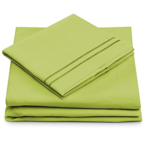 Queen Size Bed Sheets - Lime Green Luxury Sheet Set - Deep Pocket - Super Soft Hotel Bedding - Cool & Wrinkle Free - 1 Fitted, 1 Flat, 2 Pillow Cases - Light Green Queen Sheets - 4 Piece (Green Lime Bed Pillows)