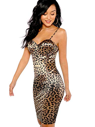 SheIn Women's Sexy Sleeveless Leopard Print Strappy Bustier Cami Bodycon Dress Small Leopard