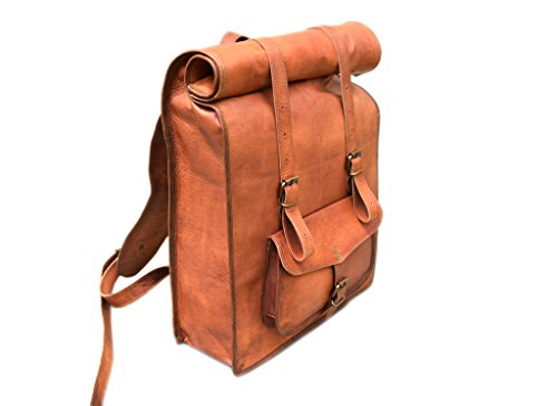 Rust Leather Roll Top Backpack Rucksack College Bag Laptop
