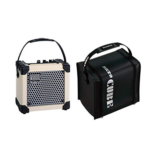 Roland Micro Cube White Guitar Amplifier Bundle with CB-MCC1B Protective Cover, Black