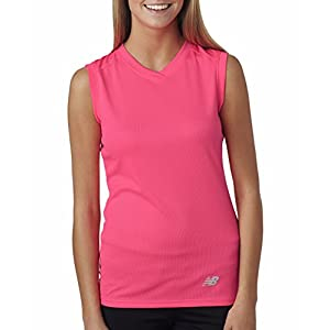 New Balance Ladies Ndurance Athletic V-Neck Workout T-Shirt, Small, Safety Pink