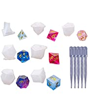 Silicone Casting Resin Molds,DIY Crystal Epoxy Dice Molds For Resin,Fillet Square Triangle Dice Art Silicone Dice Mold for DIY Jewelry Craft Making Digital Game (7pcs)