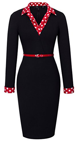 HOMEYEE Women's 1950s Vintage Turn Down Collar Black Pencil Business Dress B334 (10, Black)