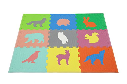 Woodland Animals Play Mat ~ Non Toxic Crawl Mat with Softer, Thicker EVA Foam for Fall Protection, 9 Tiles + 9 Inserts, Patent Pending, 4.5' x 3.5', With Custom Toy Box, Multicolor by Cake Smash Kids