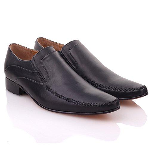 Vestido cordones para con cuero Unze de Zapatos negro hombre formal FPgqqTpw