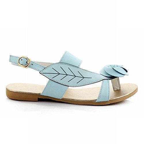 Carol Schoenen Casual Damesgesp Rose-vormige Decoratie Comfort String Sandalen Blauw Blauw
