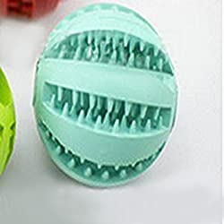 MakerHawk Dog Chew Training Toy Balls Tooth Cleaning Ball Dental Treat Bite Resistant Dog Toy Balls for Pet Training Playing Chewing, Nontoxic Soft Rubber Green