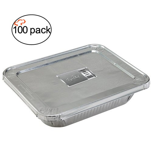 TigerChef TC-20554 Durable Aluminum Oblong Foil Cake Pan Containers with Foil Lids, Half Size, 9 inch x 13 inch Size (Pack of 100)