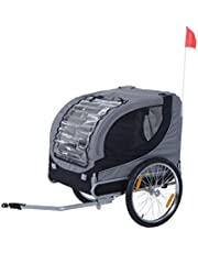 PawHut Dog Bike Trailer Pet Cart Bicycle Wagon Travel Cargo Carrier Attachment Foldable for Travel with Safety Leash Gray
