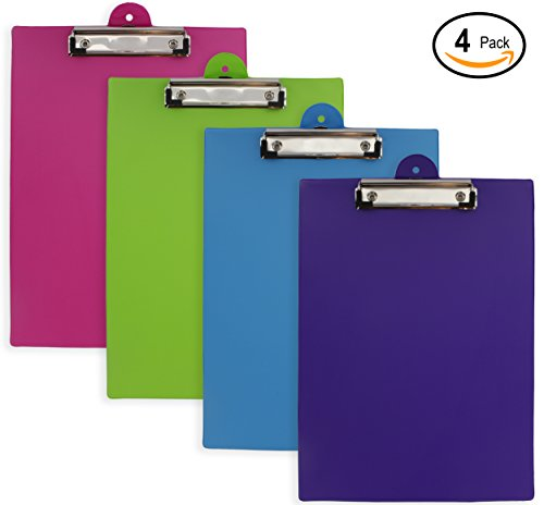 Emraw PVC Plastic Clipboard Large Standard Size Slim Assorted Bright Colored Colorful Hardboard Pack Low Profile Clip - Set of 4 Wall Mount Clip Boards