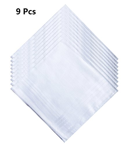 Pack 3/6/9/12PCS of Solid White Cotton Handkerchiefs for men by CoCoUSM