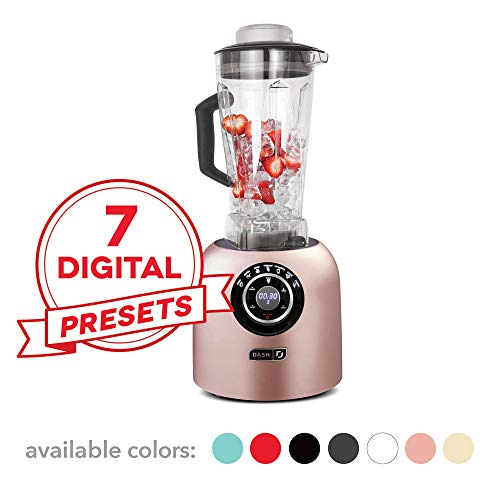 Dash DPB500RS Chef Series Blender with with Stainless Steel Blades + Digital Display for Coffee Drinks, Frozen Cocktails, Smoothies, Soup, Fondue & More, 64 oz, Rose Gold