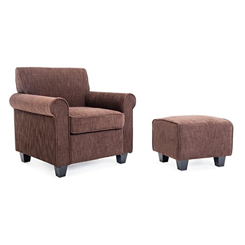 Belleze Modern Accented Retro Style Living Room Chair with Ottoman Footrest Wood Legs Dorm Upholstered Cushions, Brown