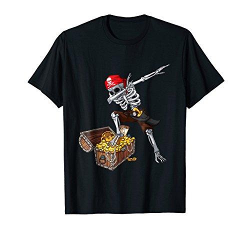 Dabbing Pirate Skeleton T Shirt Kids Halloween Costume -