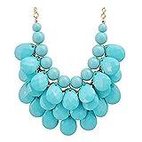 JANE STONE Fashion Floating Bubble Necklace Teardrop Bib Collar Statement Jewelry for Women (Blue)