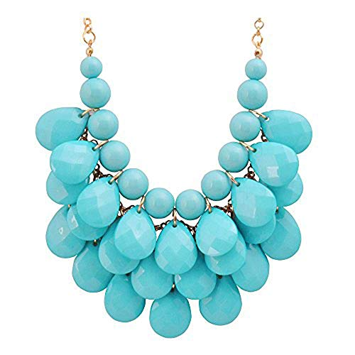 JANE STONE Fashion Floating Bubble Necklace Teardrop Bib Collar Statement Jewelry for Women (Blue)]()