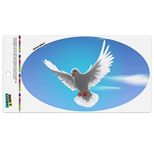 (Graphics and More Dove Bird Flying in The Sky Automotive Car Refrigerator Locker Vinyl Euro Oval Magnet)