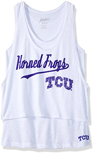 "NCAA by Outerstuff NCAA Tcu Horned Frogs Juniors ""Double Tier"" Layered Tank, White, X-Large(15-17)"