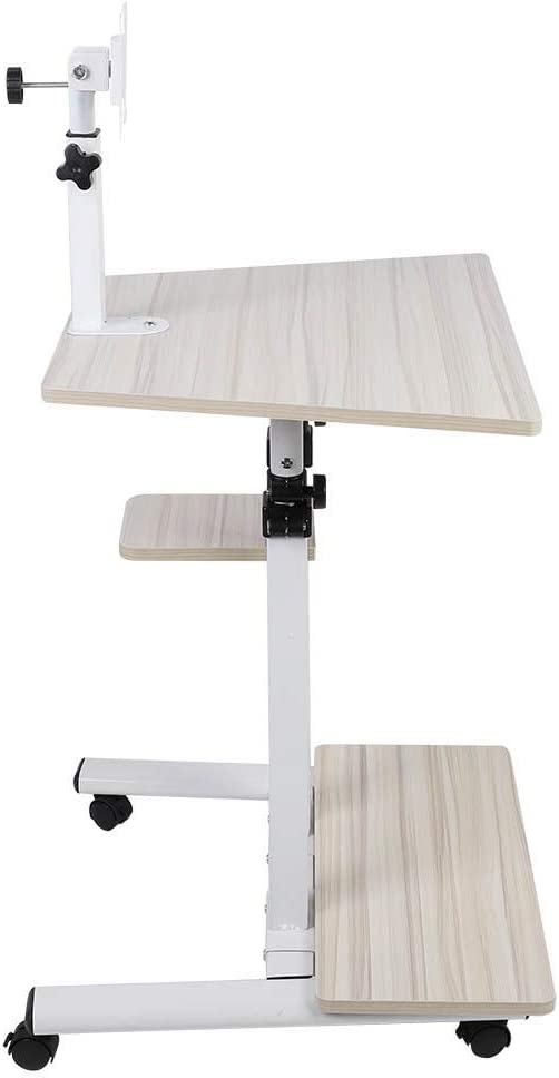 GOTOTOP Standing Computer Desk, Multifunctional Stand Up Rolling Laptop Table with Hanging Brack and Monitor Shelf Adjustable Height for Bedroom Living Room Office Home Decro(White Maple)