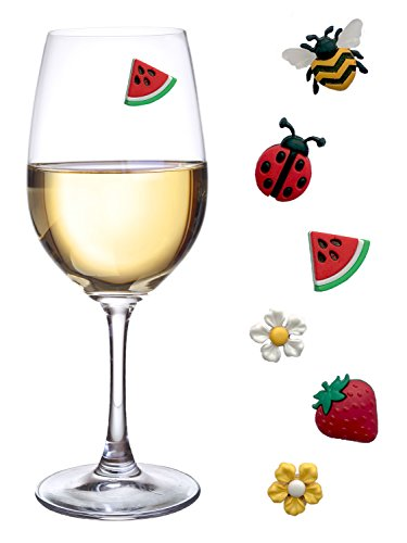 (Magnetic Wine Glass Charms with Bee, Strawberry and Flowers Set of 6 Fun Drink Markers or Cocktail Identifiers by Simply Charmed)