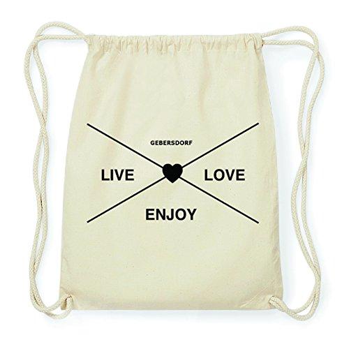JOllify GEBERSDORF Hipster Turnbeutel Tasche Rucksack aus Baumwolle - Farbe: natur Design: Hipster Kreuz