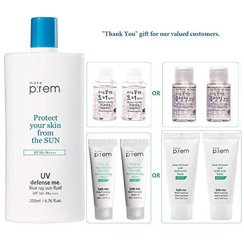 - MAKEP:REM UV Defense Me Blue Ray Sun Fluid 200ml / 6.76 fl.oz. with Moisture Cream or Cleanser 20ml & Whamisa Organic Toner 40ml | SPF 50+ PA++++ | Sunscreen for Face and Body by MAKEPREM MAKE P:REM