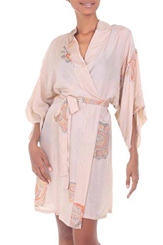 NOVICA Beige Women's 100% Silk Robe, Evening Impression' (One Size Fits Most)