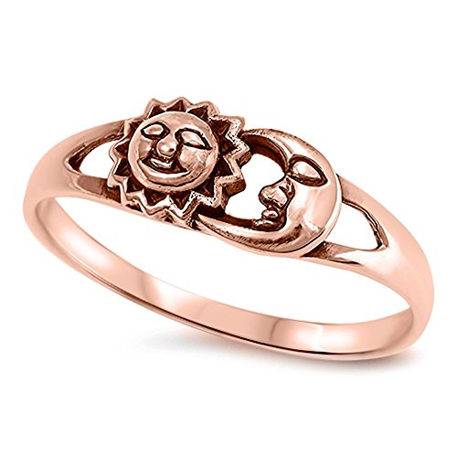 - Rose Gold-Tone Sun Moon Girl's Boho Ring New 925 Sterling Silver Band Size 8