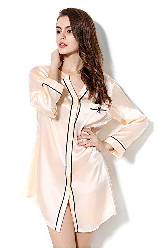 Pajama Silk Nightshirt CLC Mulberry Light Nightgown Women's Orange Pure Sleepwear qg1gPZtX