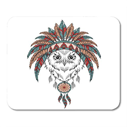 (Semtomn Gaming Mouse Pad Owl in The Indian Roach Feather Headdress of Eagle Vector 9.5