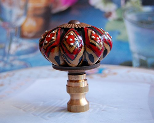 - One of Gorgeous Porcelain Lamp Shade Finial, Fit Standard Harp Threads.