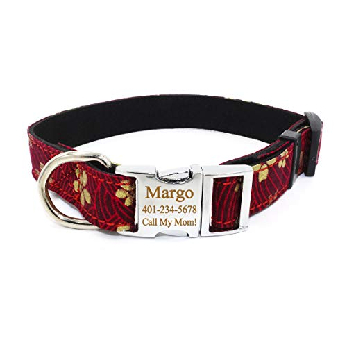 Smartyou Personalized Dog Collar, Available with Matching Leash Set, Metal Buckle Engraved Dog Collar with Dog Name & Phone Number