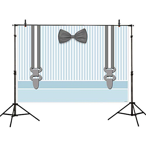 Allenjoy 7x5ft Blue and White Stripe Boss Baby Little Man is On The Way Backdrop Bow Tie Gentleman Mustache Party Banner Boys 1st Birthday Baby Shower Photography Background Photo Booth Props