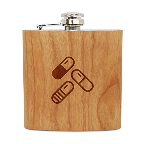 WOODEN ACCESSORIES COMPANY Cherry Wood Flask With Stainless Steel Body - Laser Engraved Flask With Painkillers Design - 6 Oz Wood Hip Flask Handmade In USA (Best Painkiller For Hip Pain)