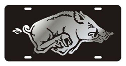 Arkansas Razorbacks Acrylic laser Cut Inlaid Plate Black w/Silver Razorback
