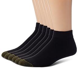 Gold Toe Men\'s Cotton Sport Liner 6-Pack Dress Socks, Black, 10-13