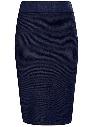oodji Collection Mujer Falda Lápiz Texturizada Azul (7900N)