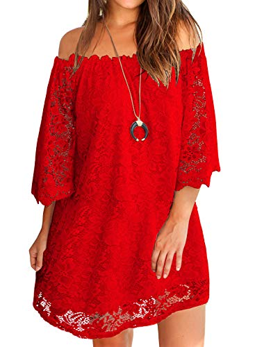 MIHOLL Women Red Lace Dress Off Shoulder Cocktail Party Bridesmaid Mini Dresses (Large, Red) (Goddess Clothing)