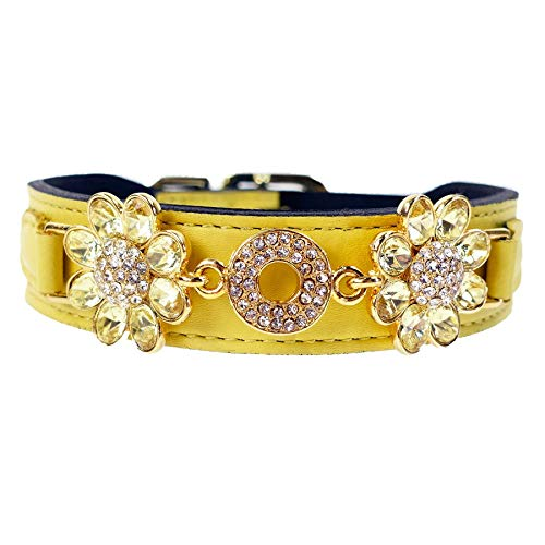 Hartman & Rose Leather Dog Collar Floral Design with Jonquil Crystals - Daisy Collection Gold Jeweled Pet Collar Yellow, 20 to 22 Inch