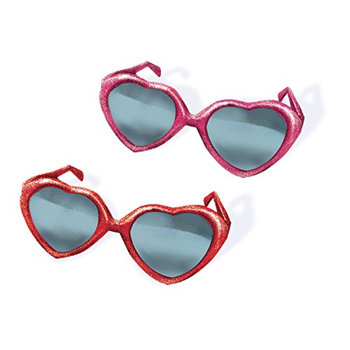 Amscan Valentine's Day Heart Glitter Plastic Sunglasses Party Costume Accessory and Favor Giveaway (12 Piece), Pink/Red, 11 1/2'' x 5 3/4'' by Amscan