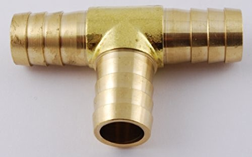MettleAir 123-10 5/8'' ID Hose Barb Tee T Union Fitting Intersection/Split Brass (Pack of 10)