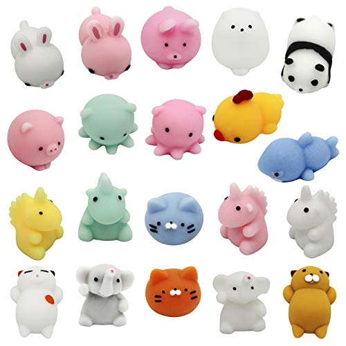 Mochi Squishies [EXTRA Squishy] Stress Relief Toy Smooshy Mushy Mini Animals. Japanese Kawaii Pack: Cats, Seals, Unicorns, Elephants, Bunnies and More [SIZE: SMALL] Random Fun For Girls and Boys