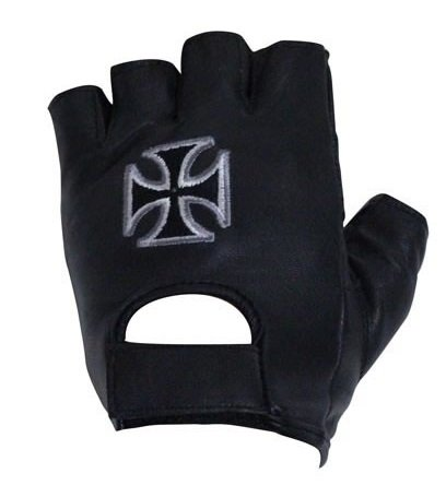 Chopper Cross Fingerless Leather Motorcycle Gloves (Size XL, X-Large)