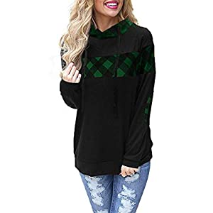 RUIVE Women's Casual Hoodie Elbow Patchwork Plaid Print Drawstring Black Pullover Girls Basic Tops Hooded Blouse