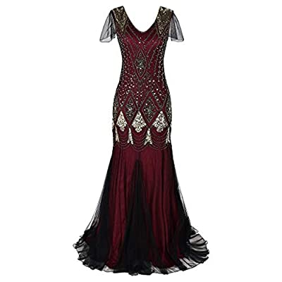 Alalaso Women Vintage 1920s Bead Fringe Sequin Lace Party Flapper Cocktail Prom Dress