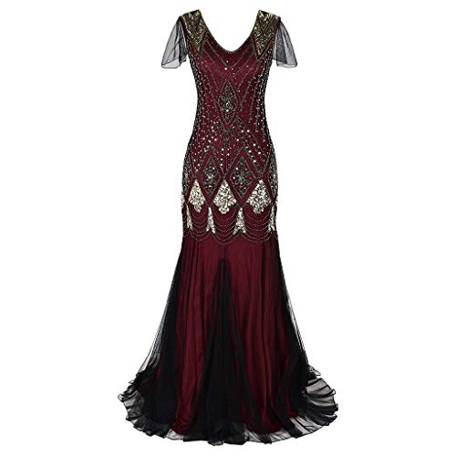 HYIRI ✈Women's Vintage 1920s Bead Fringe Sequin Temperament Lace Party Flapper Cocktail Prom Dress