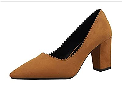 Ryse Women's Classic Retro Suede Elegant Temperament Rough High Heels Pointy Shoes