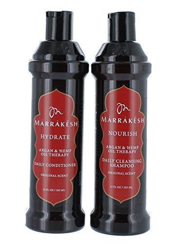 Marrakech Original shampooing + revitalisant Combo sertie de chanvre et d'huiles d'Argan, 12 onces chacune, adapté pour les hommes et les femmes