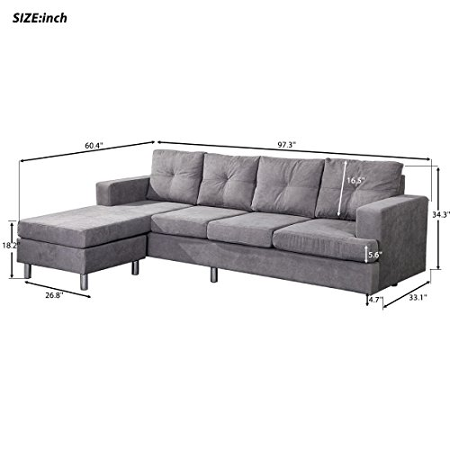 Harper & Bright Designs Modern Style Living Room L Shape Sectional Sofa with Reversible Chaise Lounge (Grey)