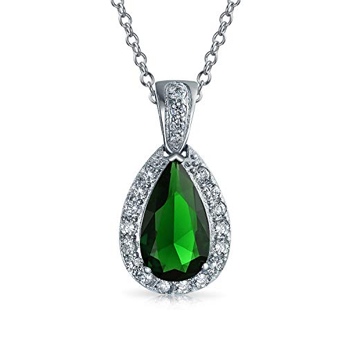 - Bling Jewelry Pave AAA CZ Halo Simulated Emerald Green Pear Shaped Teardrop Pendant Necklace for Women Silver Plated